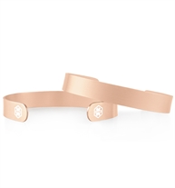 2 stainless brushed metal Sleek Mini Med ID Cuffs in Rose Gold Tone. Smooth surface both sides and white caduceus on each end