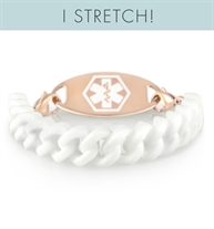 White silicone medical ID band with curb chain pattern and rose gold parts