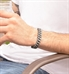 Man wearing silver silicone Medical ID Bracelet