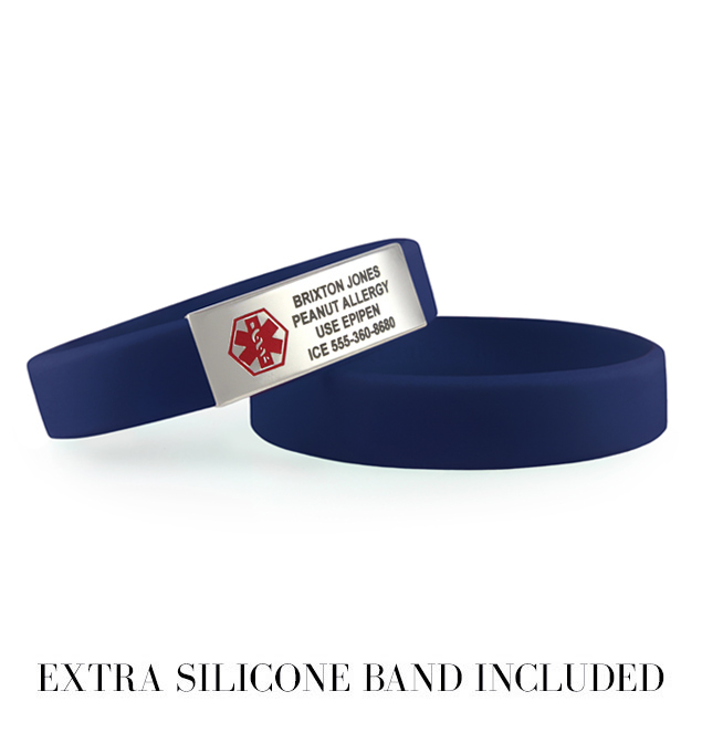 Denim blue activewear slim silicone sport band medical alert bracelet with red symbol
