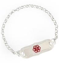 Rolo Chain Medical Alert Bracelet. Sterling silver chain, silver-dipped lobster clasps, La Petite med ID tag, red caduceus