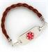 Rustic Brown Leather Medical ID Bracelet