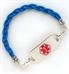 Sky Blue Leather Medical ID Bracelet