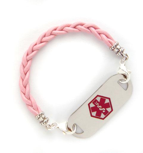 Light Pink Leather Medical ID Bracelet