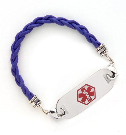 Purple Leather Medical ID Bracelet