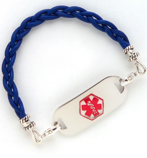 Royal Blue Leather Medical ID Bracelet