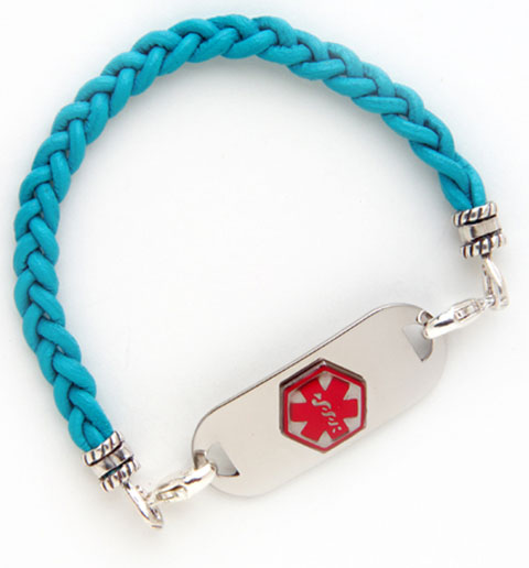 Teal Leather Medical ID Bracelet | Lauren's Hope