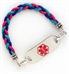 Purple/Pink/Teal Leather Medical ID Bracelet