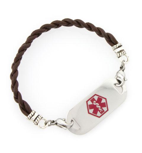 Dark Brown Leather Medical ID Bracelet