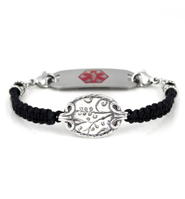 Silver Platter Medical ID Bracelet With Tag