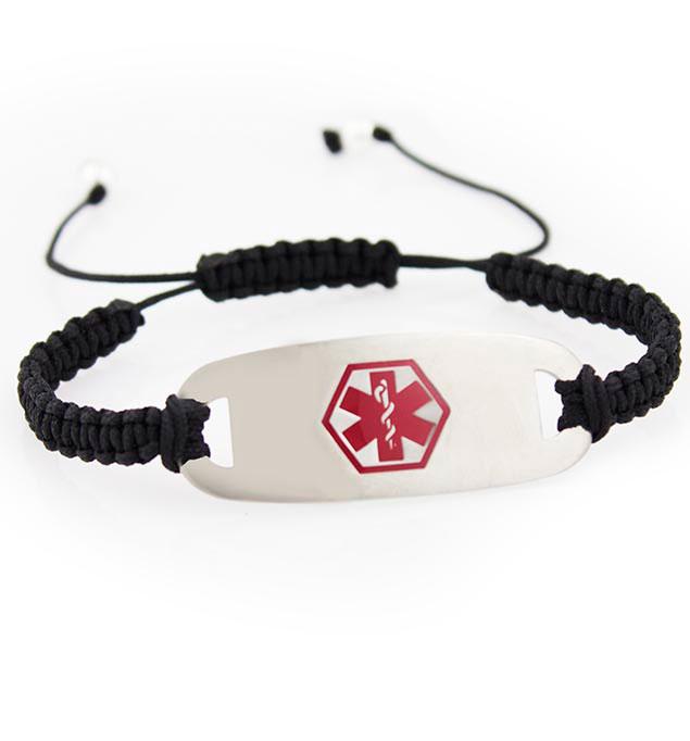 Charleston Red Modern Macrame Medical ID Bracelet
