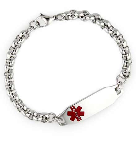 Sturdy stainless steel chain attached to a low profile engravable tag which holds a red symbol on the front