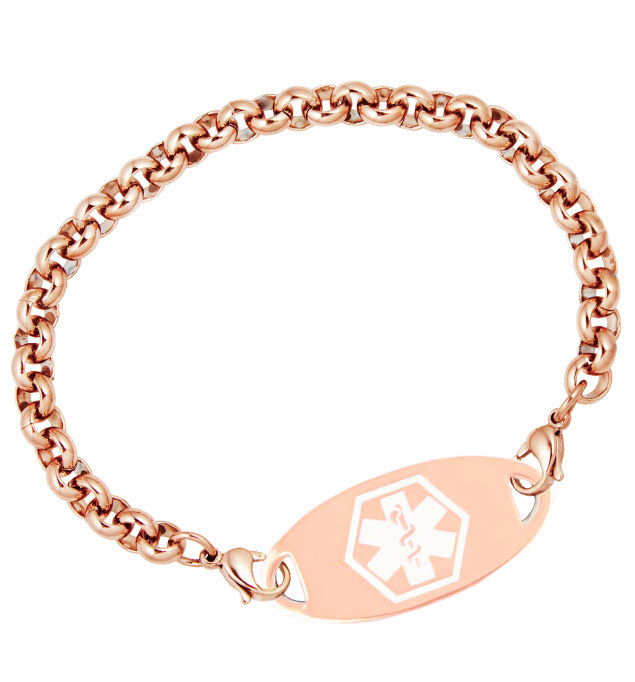 Rose Gold Tone Rolo Medical ID Bracelet For Women with Rose Gold Tone Oval Medical ID Tag