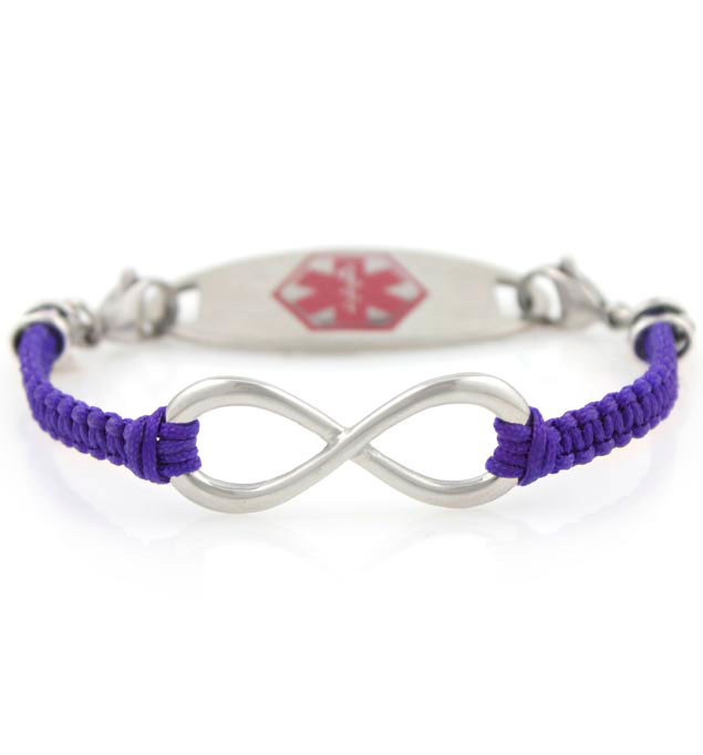 Infinite Beauty in Purple Medical Alert Bracelet For Women With Tag