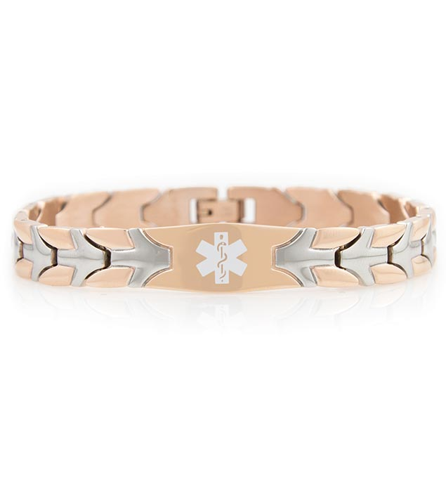 Rose Gold Tone Roadrunner Medical ID Bracelet