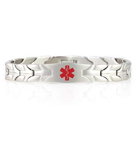 The Roadrunner Medical ID Bracelet is a ½ inch wide silver-tone stainless chain bracelet with an affixed tag and red caduceus