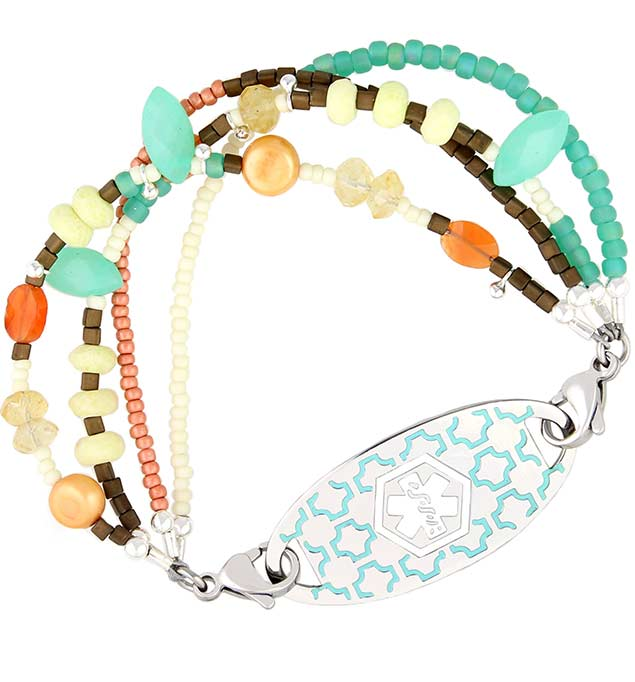 Palm Beach Medical ID Bracelet with Turquoise Silhouette Tag