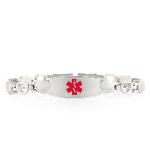 Medical bracelet with black and silver interlocking hearts and white medical alert symbol