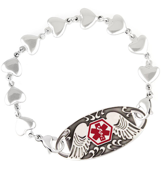 Kismet Medical ID Bracelet. Strand of small silver tone stainless ? x ½ inch heart links, with Guardian Angel medical ID tag