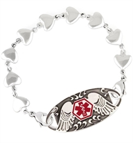 Repeating steel heart link bracelet with lobster clasps attached to the ID tag featuring angel wings.