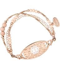 Interchangeable Rose gold dipped chain and Rose gold filled beads bracelet shown on white background with rose gold ID tag