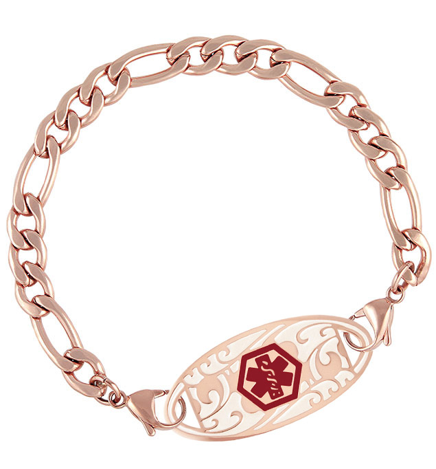 Rose Gold Tone Figaro Medical ID Bracelet