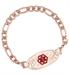 Rose Gold Tone Figaro Medical ID Bracelet