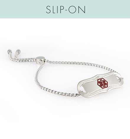 The slip-on SmartFit Medical ID Bracelet with SmartBead to slide to adjust size, with the La Petite med ID tag, red caduceus