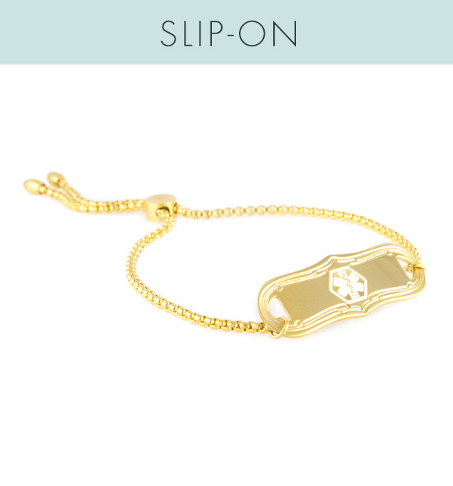 SmartFit Medical ID Bracelet in Gold Tone