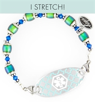 Color changing mood beads on stretchy medical alert bracelet with decorative medical alert tag