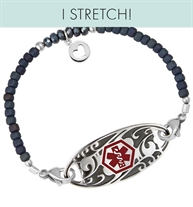 Deep blue frost seed beads and crystals with sterling silver accents shown with filigree ID tag