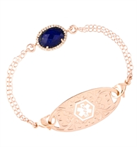 Multistrand Morning Glory Medical ID Bracelet, Rose gold-filled chain, cubic zirconia, blue centerstone, rose tone med ID tag