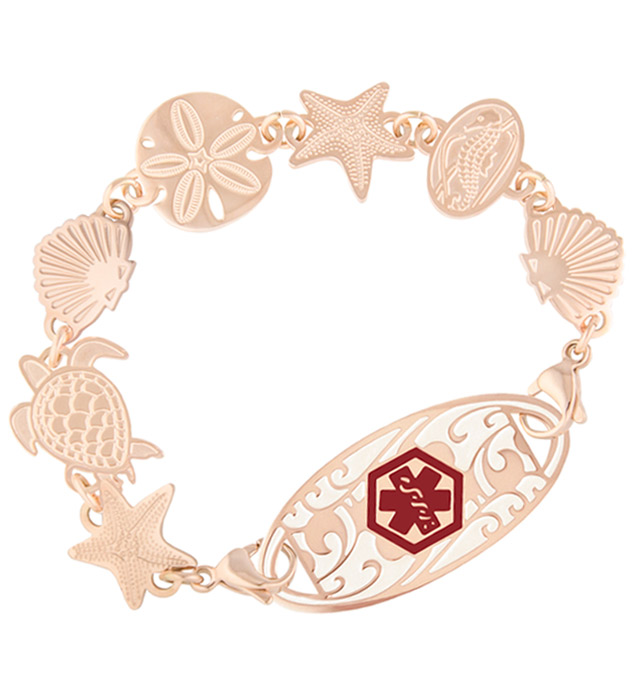 A waterproof 2-sided rose gold tone medical ID bracelet with starfish, sea turtle, shell, seahorse links and rose med ID tag