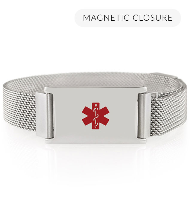 Front of silver-tone stainless Urban Medical Alert bracelet with mesh chain, magnetic closure, affixed ID tag with red caduceus