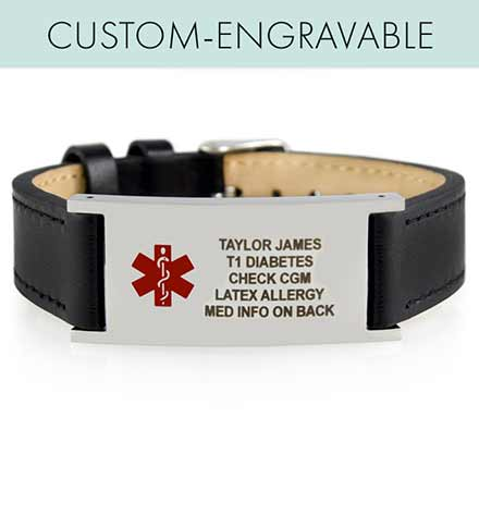Hudson Tech Med ID. Adjustable leather band, watch-style closure, affixed hypoallergenic ID tag, Unisex. Engraving on front