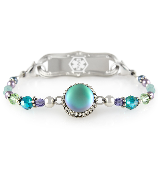 Single strand beaded bracelet made of Multi-faceted crystals in varying sizes Blue/green moonstone centerpiece with cubic zirconia accents attached to mon petite ID tag