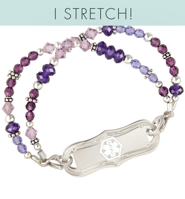 Crystals in various shades of purple with alternating Silver Balis beads attached to mon petite stainless ID tag