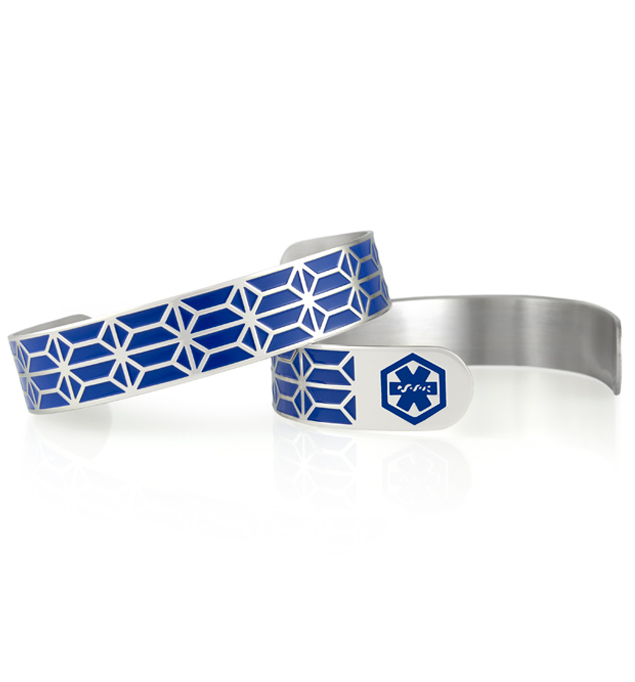Two Brooke Medical ID Cuffs showing front and back of 1/2 inch wide silver tone stainless cuff. Pattern in royal blue enamel inlay and blue caduceus. Engraving is next to wrist