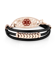 Joan Medical ID Wrap. Flat black leather, rose gold chevron accents and rose stainless lobster clasps, with rose med ID tag