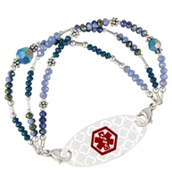 Three strands of blue, green and sterling silver beads attaches to a medical ID tag
