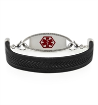 Hendrix Med ID Bracelet in Black Leather