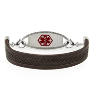Retired Hendrix Med ID Bracelet in Black braid-imprinted leather. Shown with the Oval Border Medical ID Tag, red caduceus