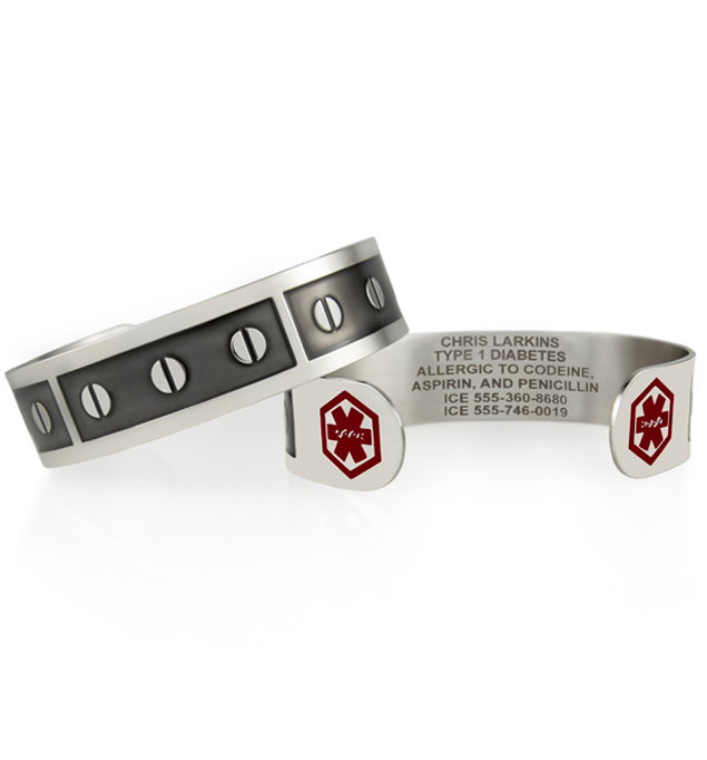 Medical ID cuff bracelet with repeating screw head pattern and red medical symbols