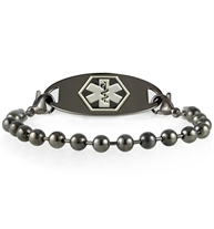 Gray ruthenium metal ball chain bracelet attached to gray ruthenium metal medical ID tag.