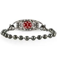 Gunmetal ball chain medical ID bracelet with decorative Gardenia medical ID tag