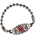 Gunmetal ball chain medical ID bracelet with decorative Gardenia medical ID tag