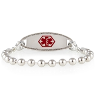 Sterling silver ball chain medical ID bracelet for women with oval border medical ID tag