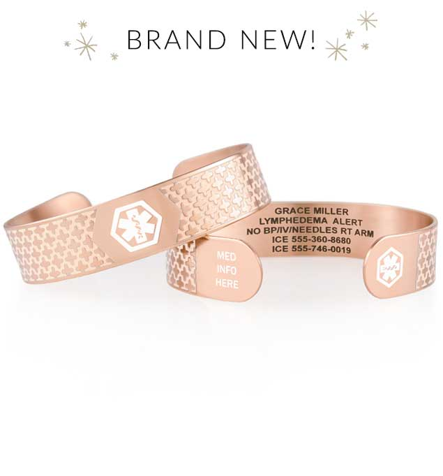 Decorative rose gold tone medical ID cuff with white medical symbol stacked