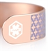 Detail image of rose gold medical ID cuff with design and white medical symbol