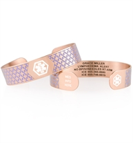 Decorative rose gold tone with lavender medical ID cuff with white medical symbol stacked
